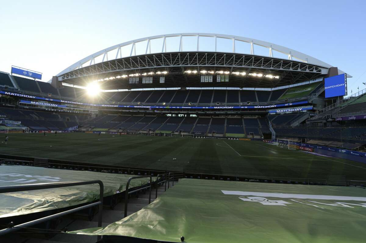 SEATTLE, WA - NOVEMBER 08: The sun starts to set at CenturyLink Stadium on match day before an MLS match between the San Jose Earthquakes and the Seattle Sounders on November 8, 2020, at CenturyLink Field in Seattle, WA. Today, fans will not be allowed inside the CLINK due to Washington state COVID-19 restrictions. (Photo by Jeff Halstead/Icon Sportswire via Getty Images)