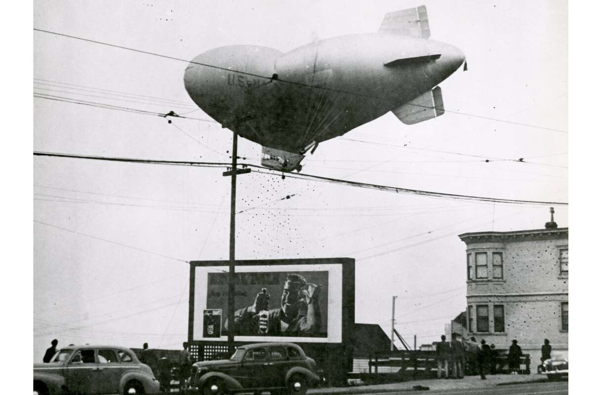 The blimp L-8 drifting unmanned over Daly City, Calif., on Aug. 16, 1942. Its occupants, Lt. Ernest DeWitt Cody and Ensign Charles E. Adams, were never found.