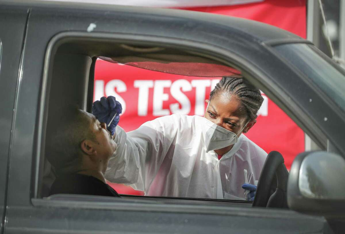 My Family Doctor, 6430 Hillcroft, conducts free COVID-19 testing in July. The long line of people wanting to be tested stretched to the Interstate 59 off ramp.