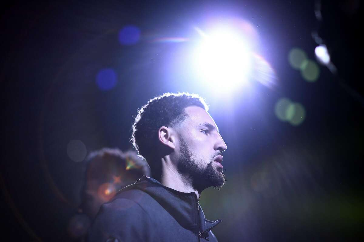 Klay Thompson of the Golden State Warriors is introduced prior to game one of the NBA Western Conference Finals against the Portland Trail Blazers at ORACLE Arena on May 14, 2019 in Oakland.