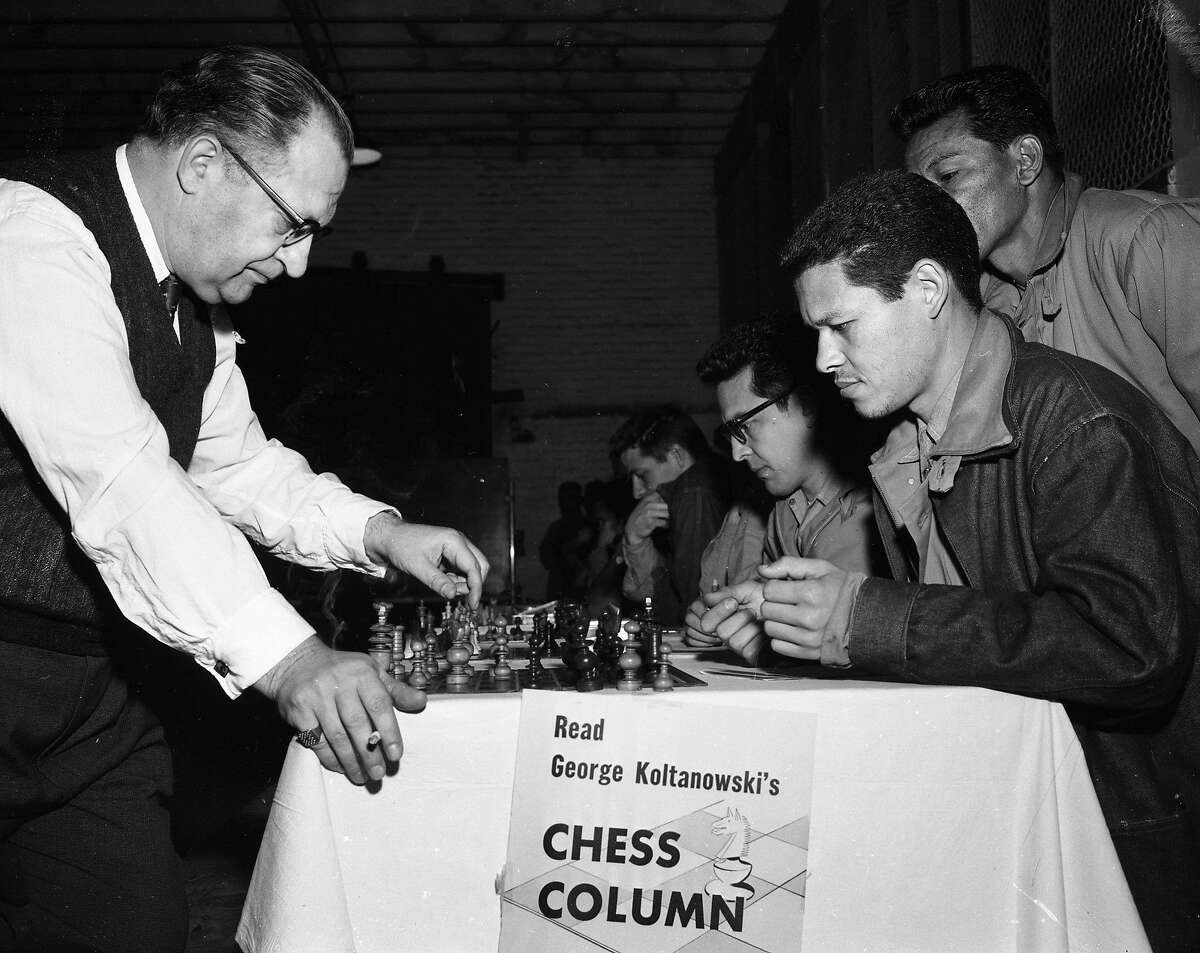 Chronicle chess columnist George Koltanowski played 95 inmates at San Quentin State Prison in February 1957.