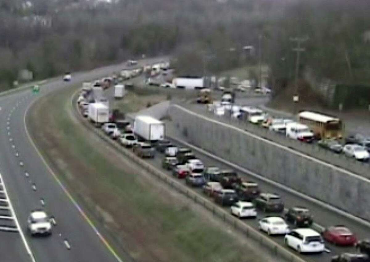 A Connecticut Department of Transportation camera shows traffic in the area of a Waterbury, Conn., accident on Nov. 19, 2020.
