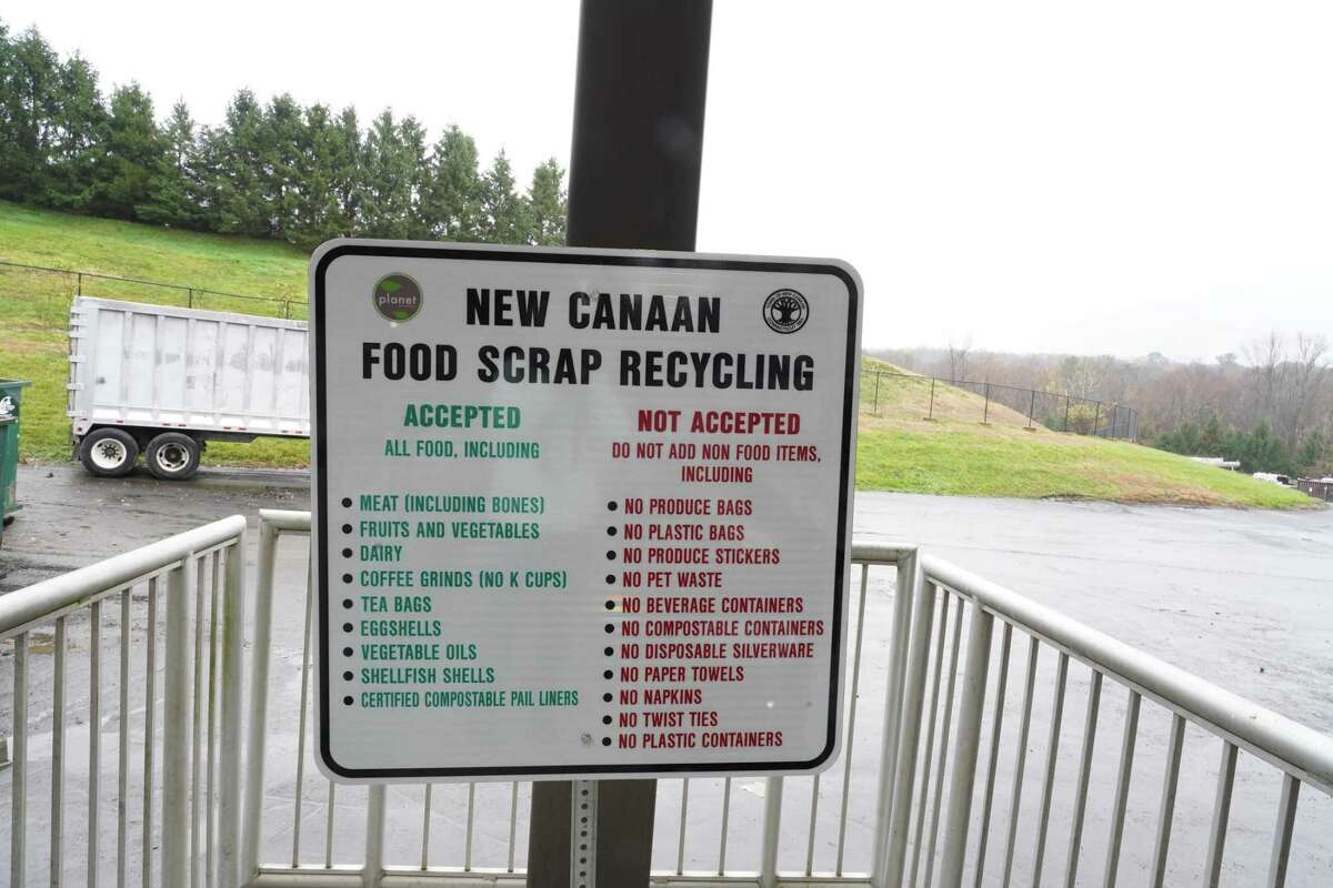 The New Canaan Transfer Station is accepting food scraps for recycling. Bins for the food scraps can be found next to a sign that describes what is accepted and what is not.