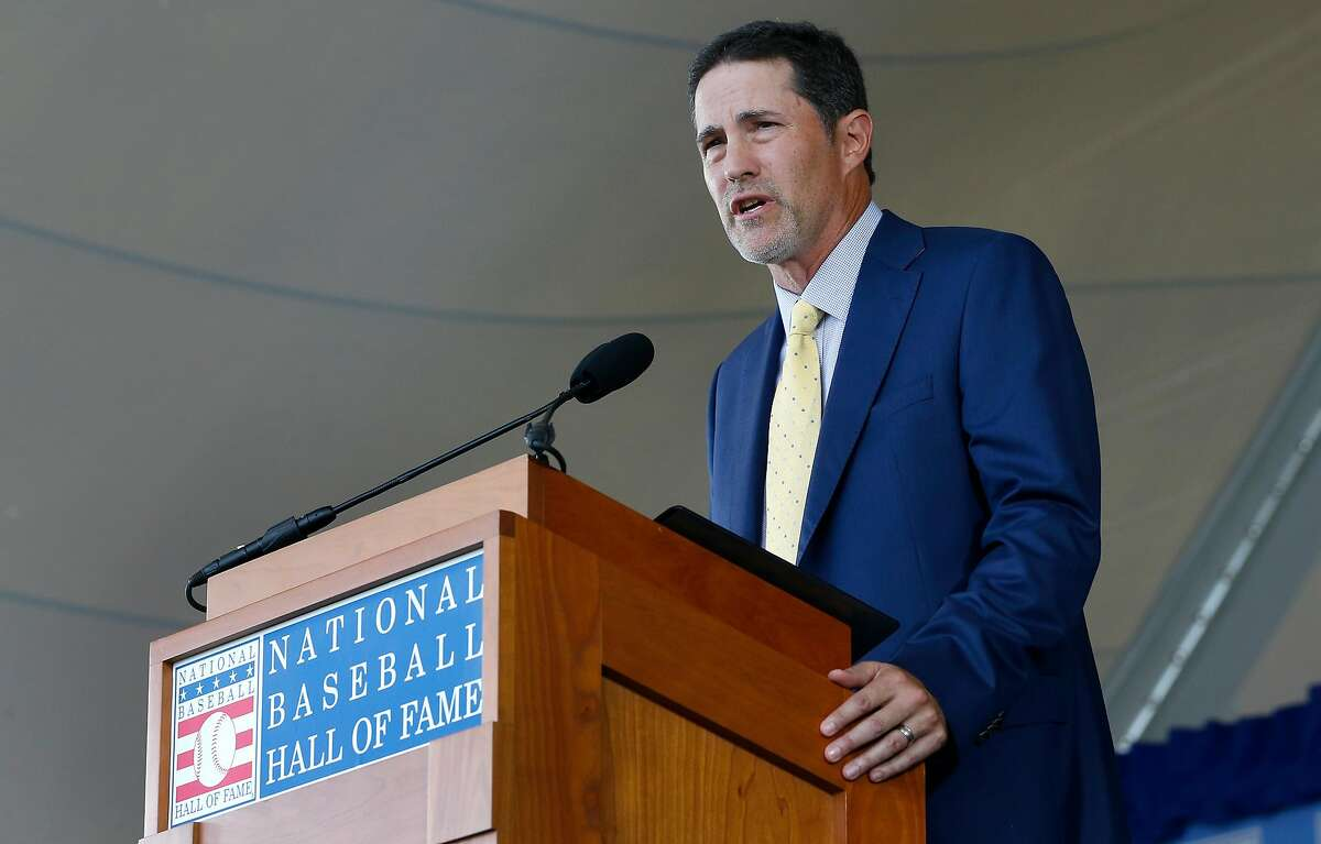 COOPERSTOWN, NEW YORK - JULY 21: Mike Mussina gives his speech during the Baseball Hall of Fame induction ceremony at Clark Sports Center on July 21, 2019 in Cooperstown, New York. (Photo by Jim McIsaac/Getty Images)