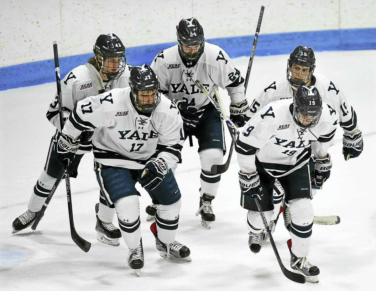 Yale hockey players shown after a victory over Brown on Jan. 28, 2017. The program scored a perfect graduation rate in the latest NCAA Graduation Success Rate report.
