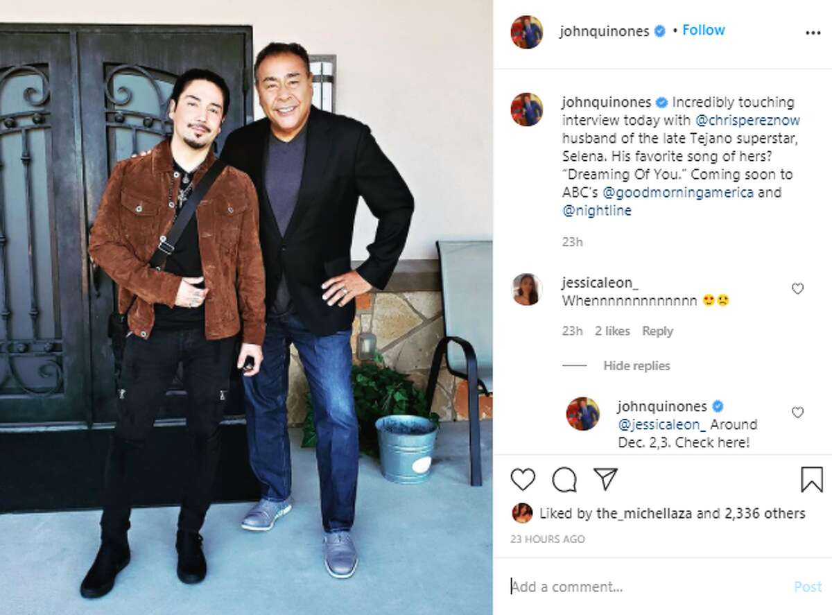 Two notable San Antonians combined this week when TV journalist John Quiñones interviewed Chris Perez for an upcoming segment on Selena for ABC. The photo is a screen grab of a social media post by Quiñones.