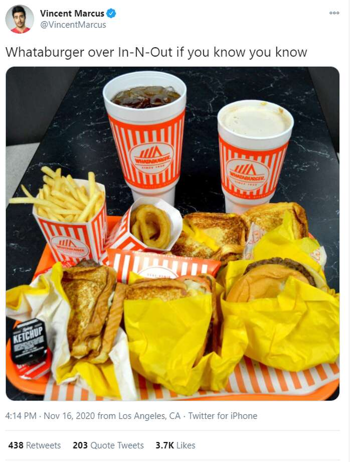 "An El Paso impersonator who recently appeared on NBC's ""America's Got Talent"" said Whataburger is better than In-N-Out, reigniting the debate on Twitter between the respective fans of the fast-food chains. Photo: Twitter: @VincentMarcus"