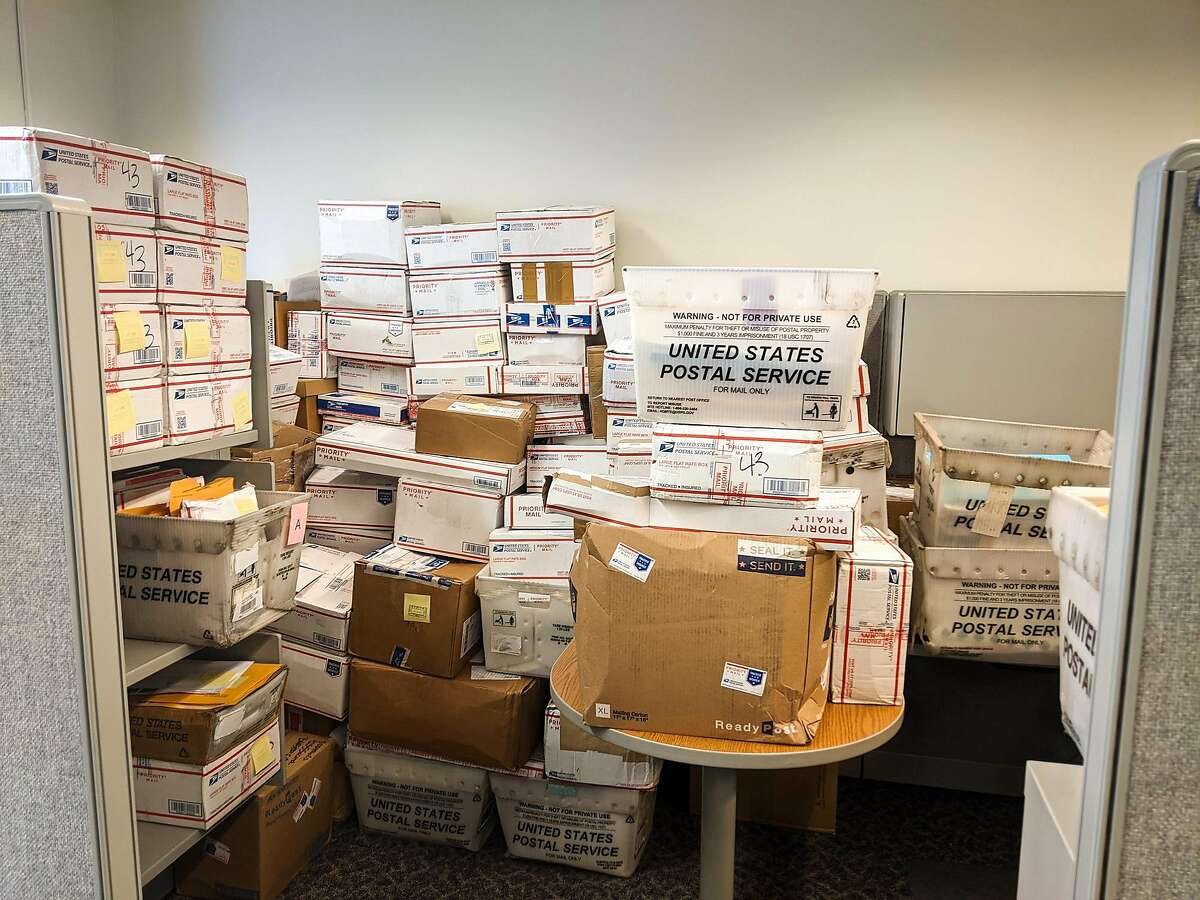 This undated photo shows a large volume of mail returned to the California Employment Development Department. Forms which displayed a person's full Social Security number may have contributed to fraud.
