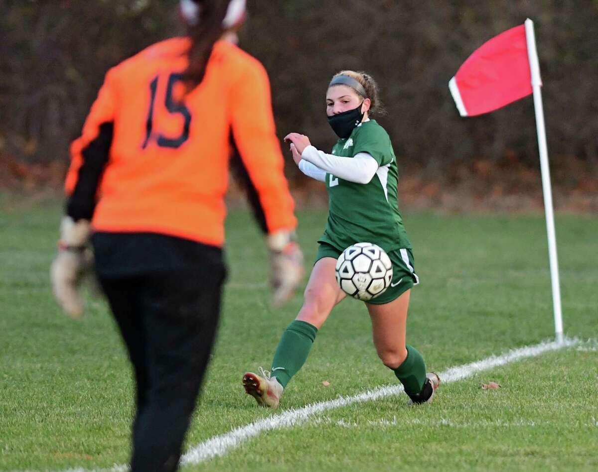 Shenendehowa's Ava Caputo kicks the ball toward the net during a Suburban Council semifinal soccer game against Guilderland on Thursday, Nov. 19, 2020 in Clifton Park, N.Y. (Lori Van Buren/Times Union)