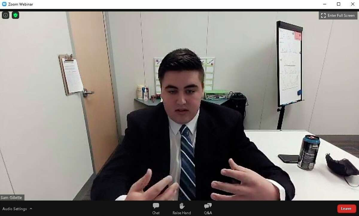 Sam Gillette, secretary of West Shore Community College's Student Senate, moderates a talk by Dr. Abdul El-Sayed on Wednesday. El-Sayed discussed the topic of racial justice and equality in America in a virtual Zoom event sponsored by the student senate. (Screenshot/Zoom)