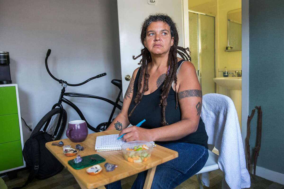 Shawn Landrum-Teppish, who has been homeless for years, lives in a Civic Center hotel that was slated to close this month.