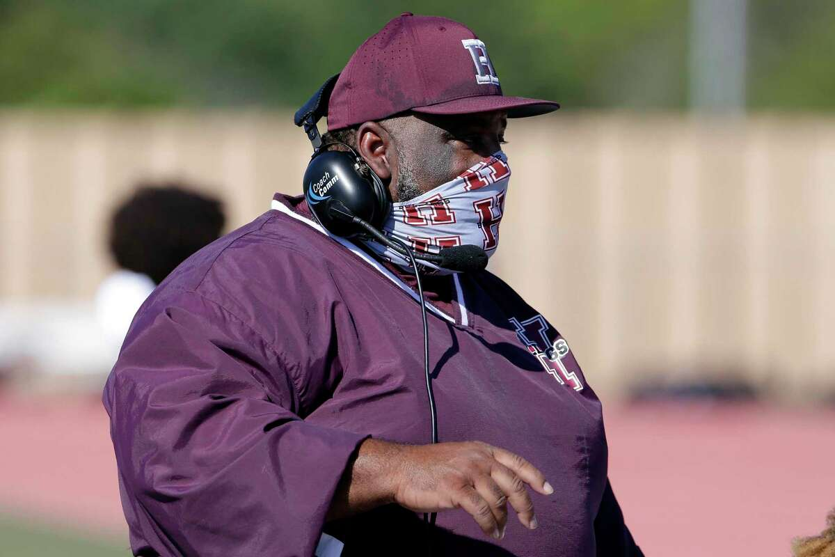 Heights head football coach Stephen Dixon Sr. during their their game against Westside at Butler Stadium Saturday, Oct. 31, 2020 in Houston, TX.