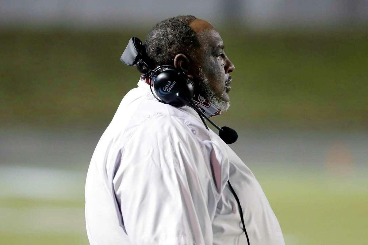 Heights Bulldogs head coach Stephen Dixon Sr. during the first half of a high school football game against the Lamar Texans at Delmar Stadium Friday, Nov. 13, 2020 in Houston, TX.