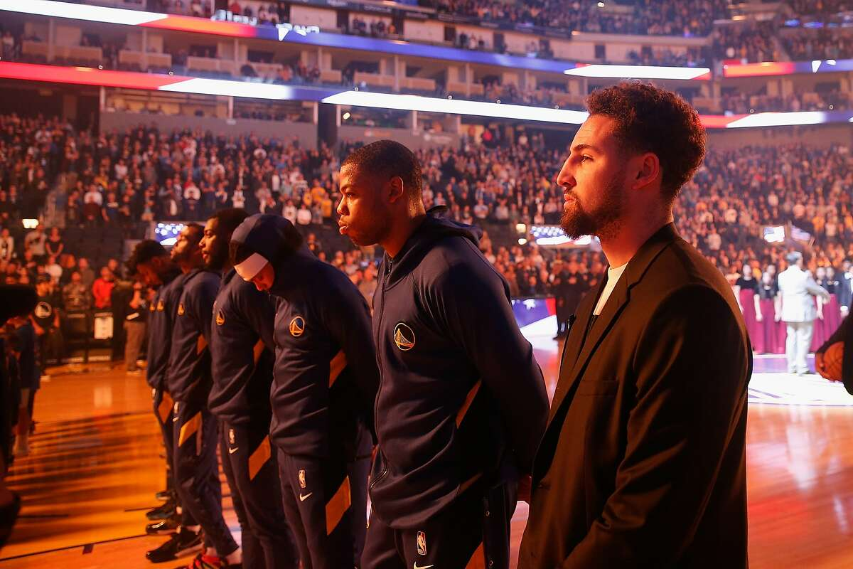 SAN FRANCISCO, CALIFORNIA - JANUARY 04: Klay Thompson #11 of the Golden State Warriors looks on before the game against the Detroit Pistons at Chase Center on January 04, 2020 in San Francisco, California ~~
