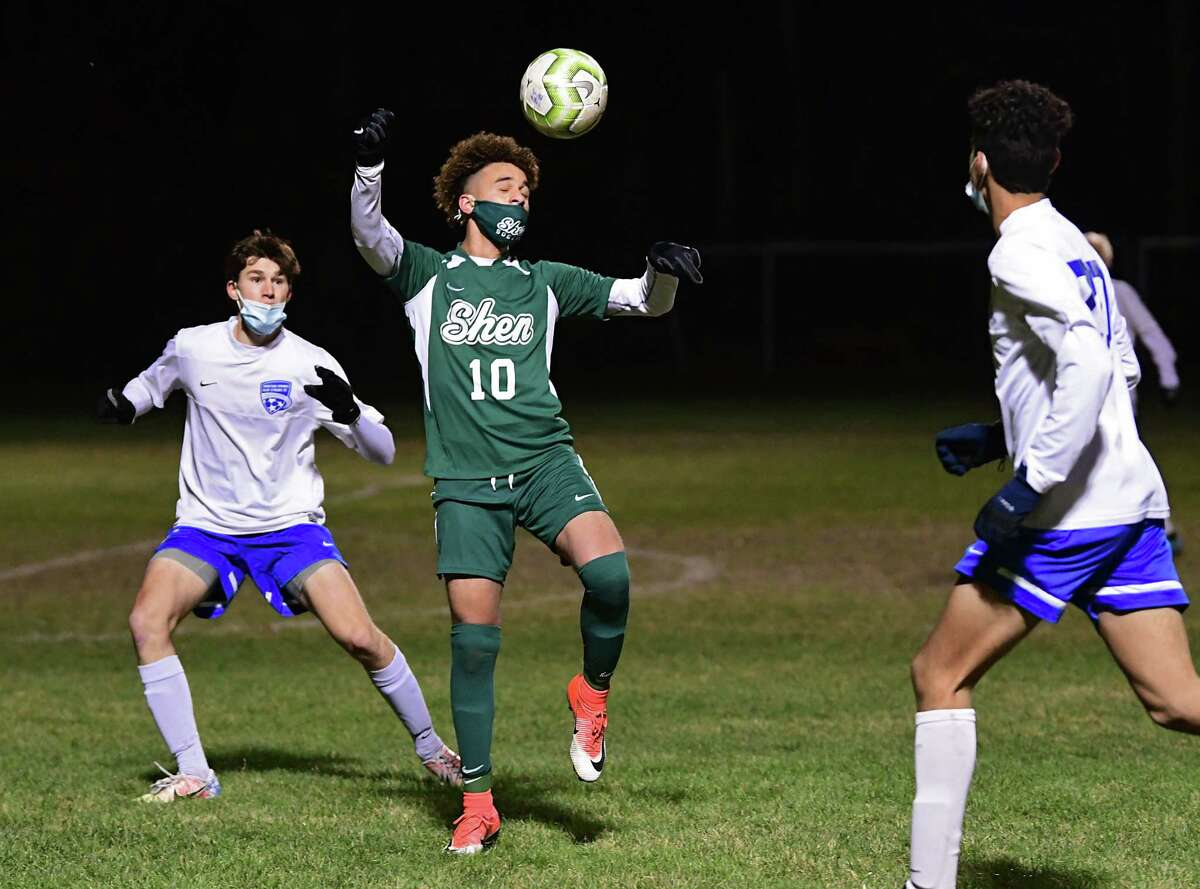 Shenendehowa's Darien Espinal heads the ball during a Suburban Council semifinal soccer game against Saratoga on Thursday, Nov. 19, 2020 in Clifton Park, N.Y. (Lori Van Buren/Times Union)