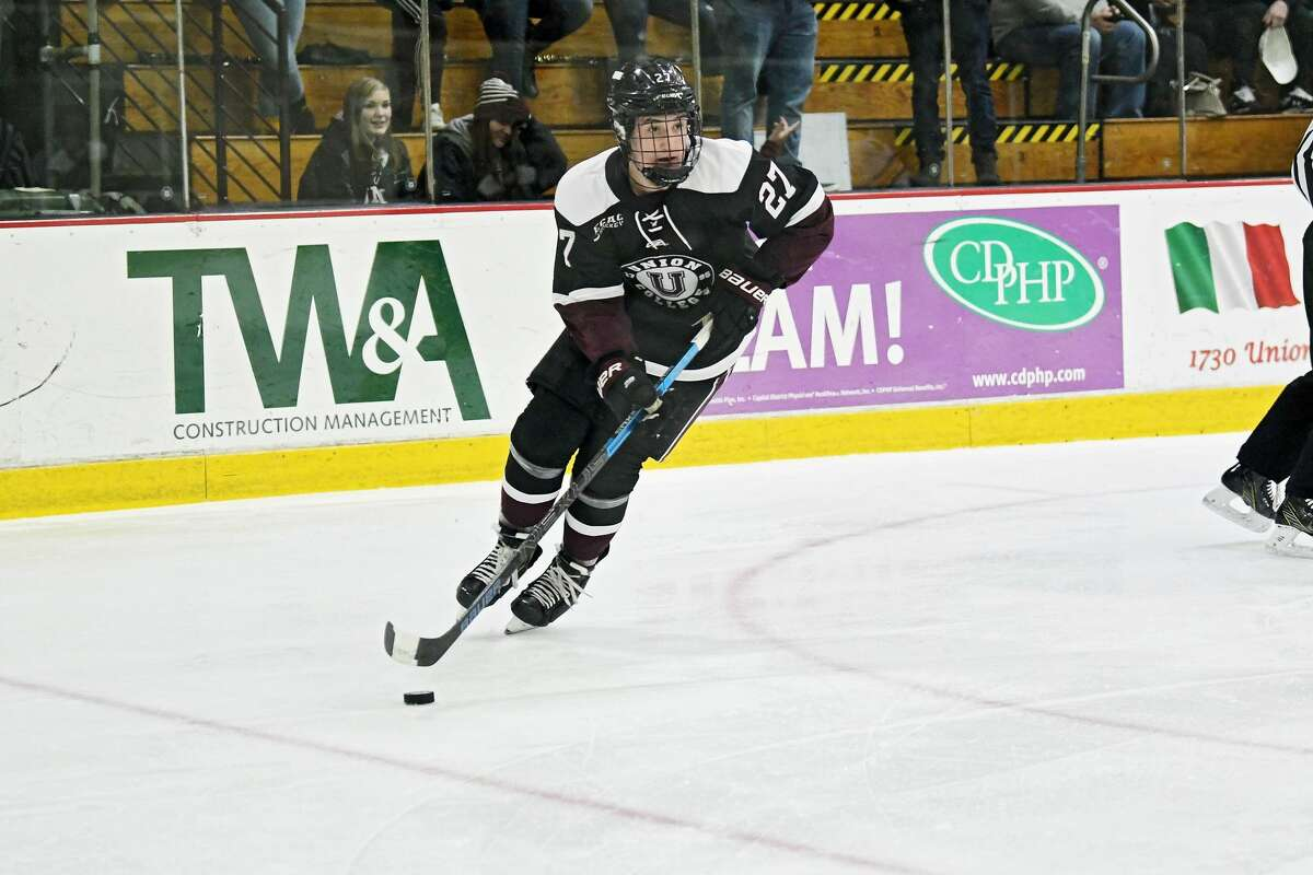 Union College hockey co-captain Josh Kosack, shown last season, isn't letting the cancellation of hockey season keep him from tackling other issues that are important to him. (Gillian Francis / Union College Athletics)