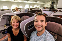 Airfare deals expert Jared Kamrowski is the founder of ThriftyTraveler.com pictured here with his wife.