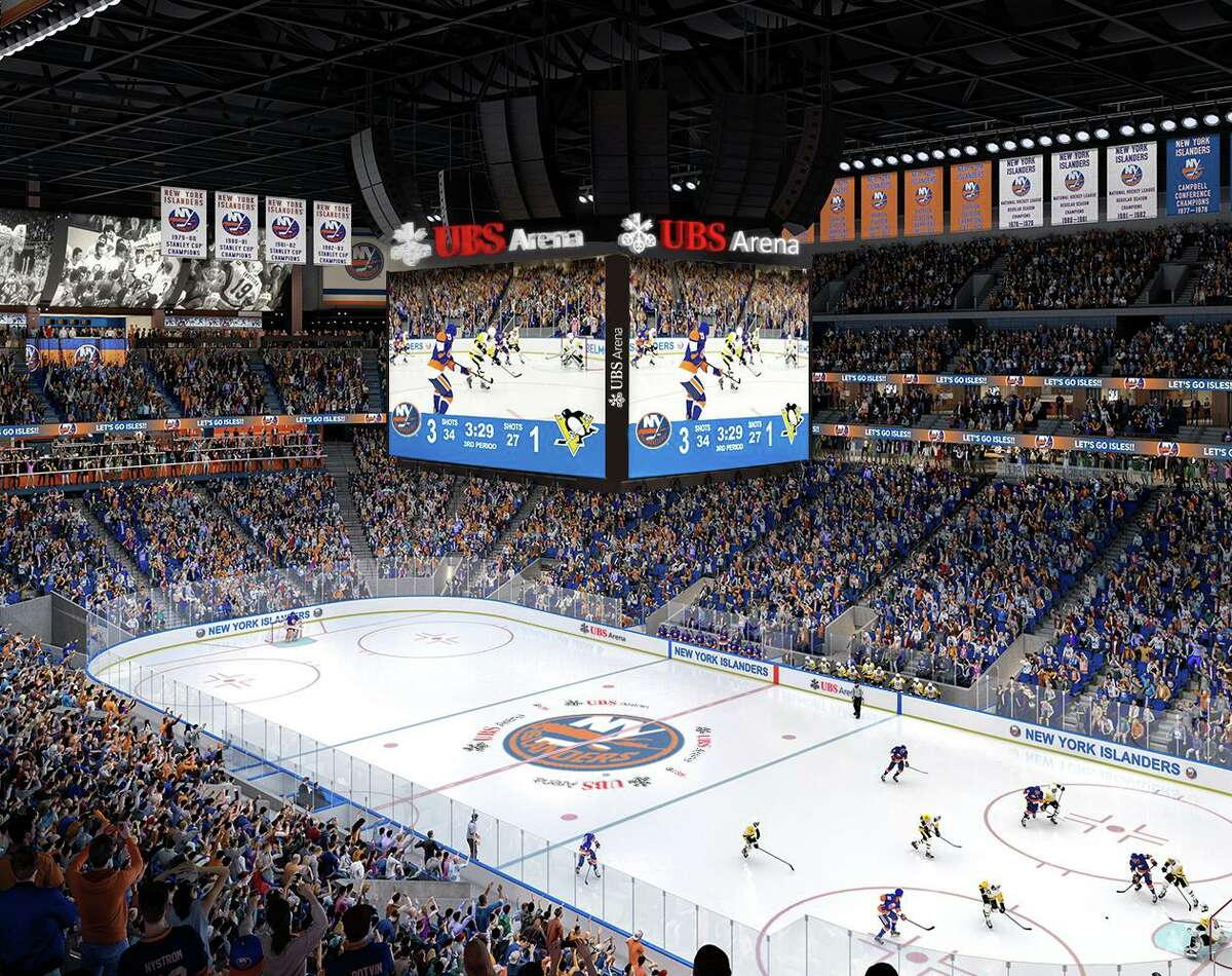 An artist's rendering of center ice at UBS Arena in Belmont, N.Y., future home of the New York Islanders.