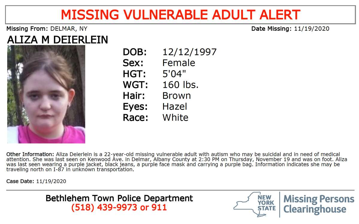 Missing person poster forAliza M. Deierlein