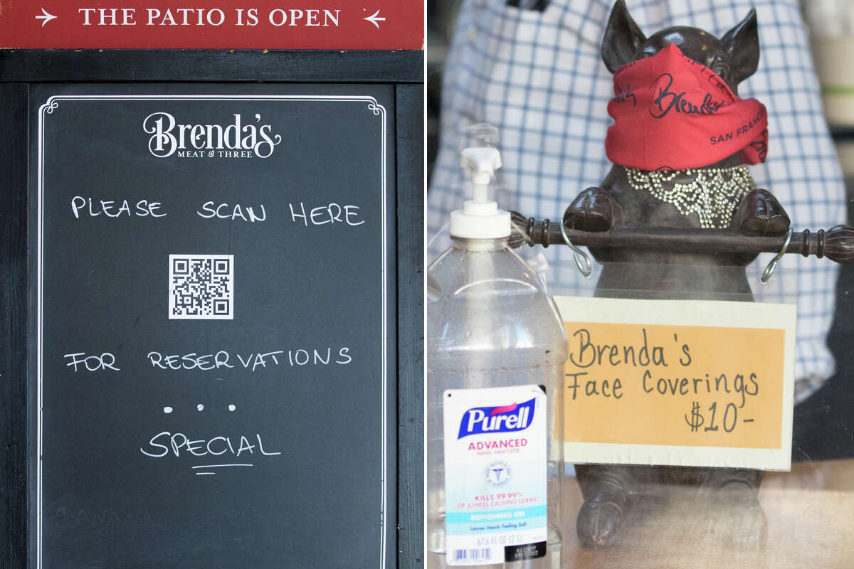 (Left) A sign outside Brenda's Meat and Three ask customers to scan a QR code for a menu. (Right) Brenda's branded face coverings are on sale at the restaurant on Divisadero Street in San Francisco on Nov. 19, 2020. Like many other restaurants, Brenda's has been severely affected by the COVID-19 coronavirus pandemic.