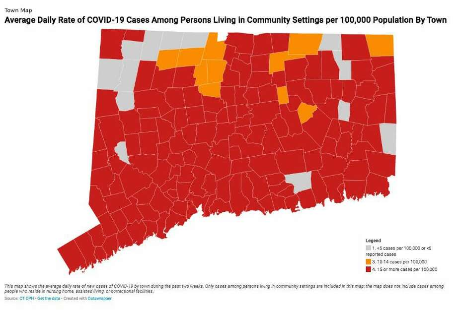 """Nearly all of Connecticut's 3.5 million residents now live in communities that are considered """"red alert"""" zones for the virus, a metric based on the number of new daily cases per 100,000 people in 14 days. Photo: CT DPH Photo"""