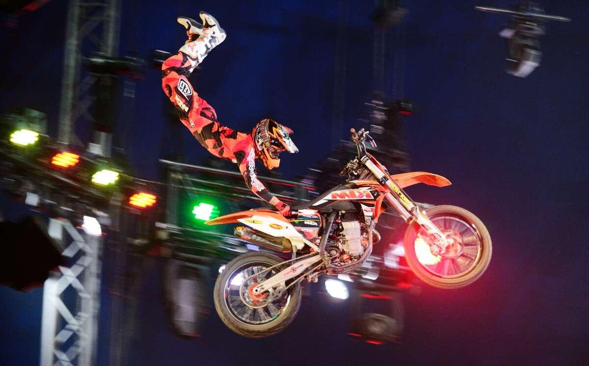 A motorcycle rider at UniverSoul Circus.