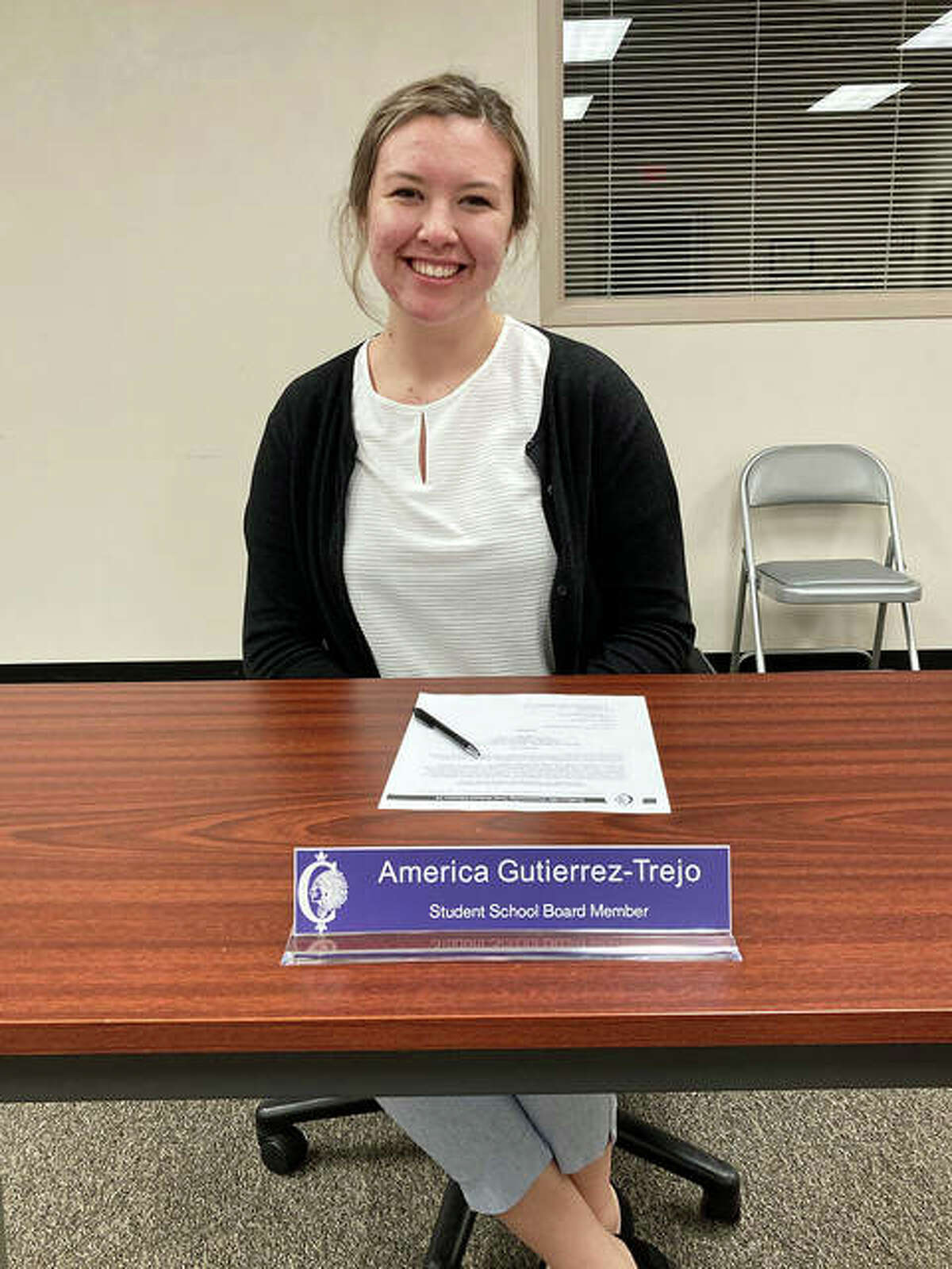 America Gutierrez-Trejo, a senior at Collinsville High School, is the student board member this year. Here she is before the start of a recent school board meeting. America also serves on the 2020-21 Illinois School Board of Education's Student Advisory Council.
