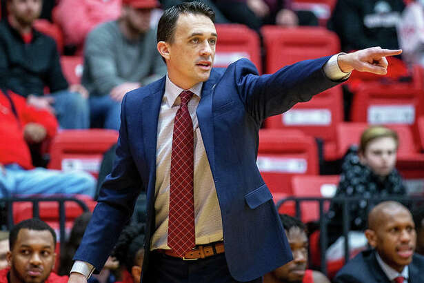 SIUE coach Brian Barone directs his team during a game against Austin Peay last season at First Community Arena in Edwardsville. The SIUE men's basketball team was picked to finish 11th in the 12-team OVC in a media poll.