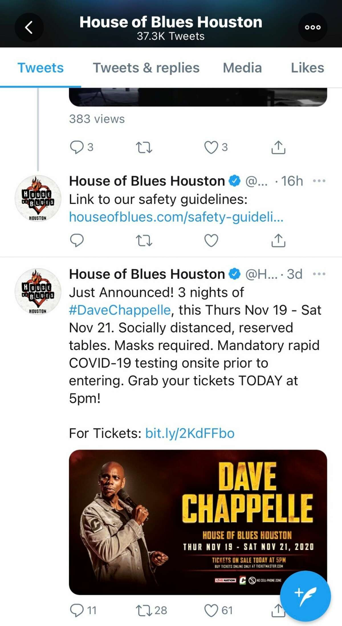 House of Blues is requiring COVID testing for attendees of Dave Chappelle's show.