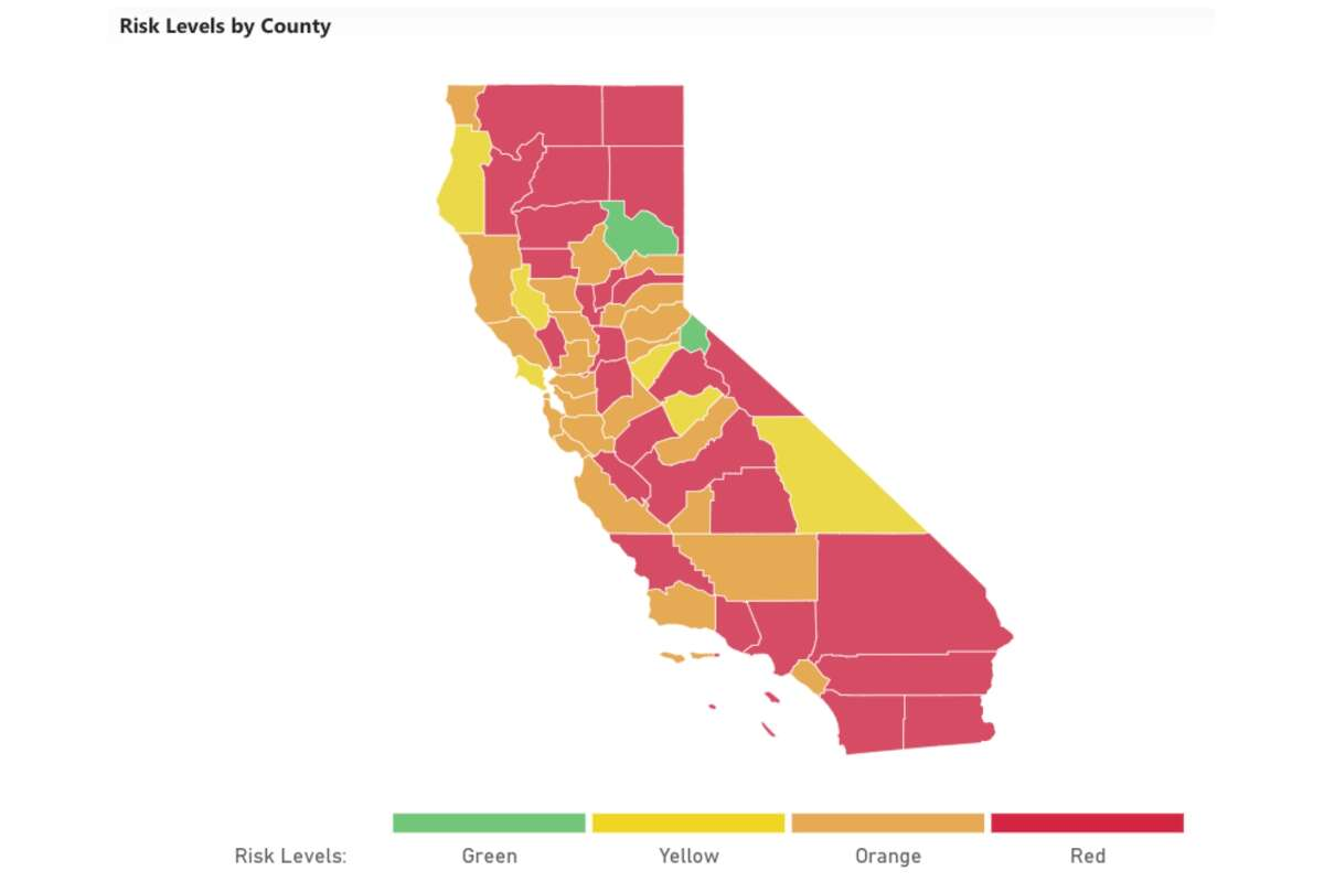 Harvard Global Health Institute, Harvard's Edmond J. Safra Center for Ethics, the Rockefeller Foundation, CovidActNow, Covid-Local, CIDRAP and others joined forces to create this COVID Risk Level map. The California map above is based on data as of Wednesday, Nov. 18, 2020.