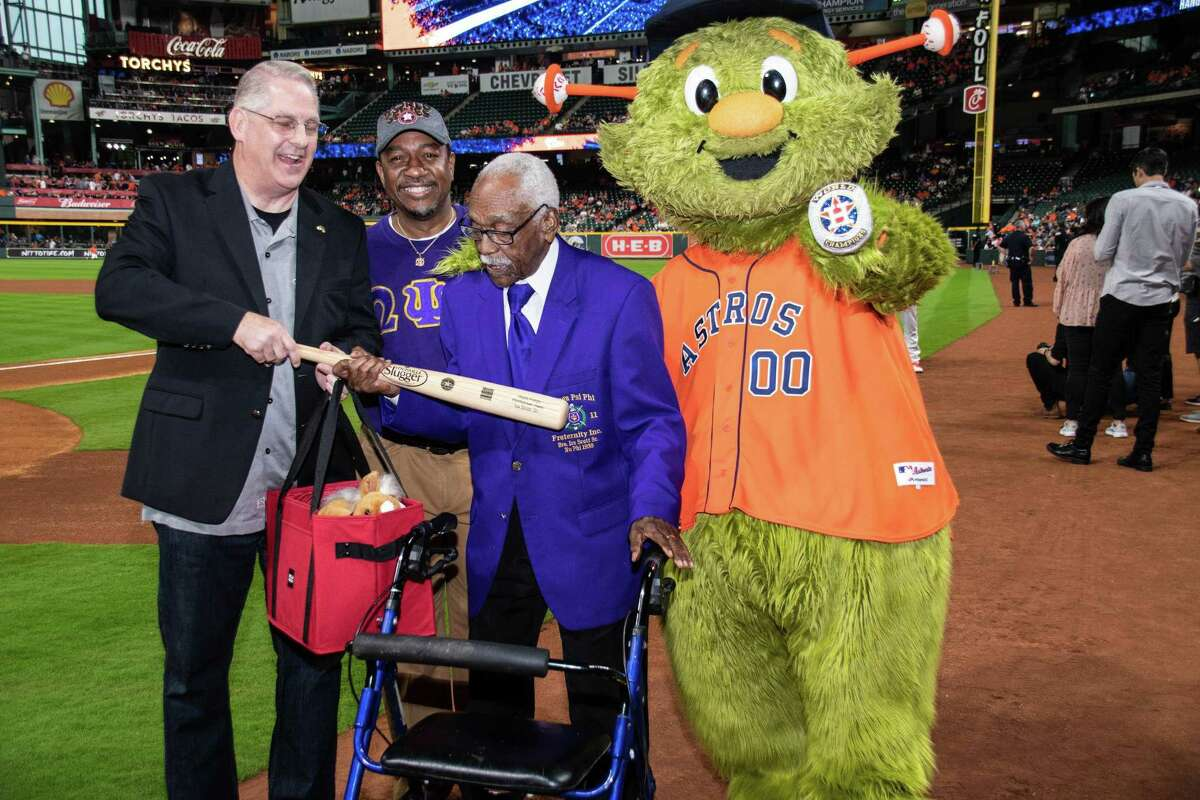 Ira B. Scott, Sr. was honored by the Houston Astros in 2019 for Jackie Robinson Day. A beloved longtime educator and the oldest living member of Omega Psi Phi, Scott died on Nov. 10. He was 103.
