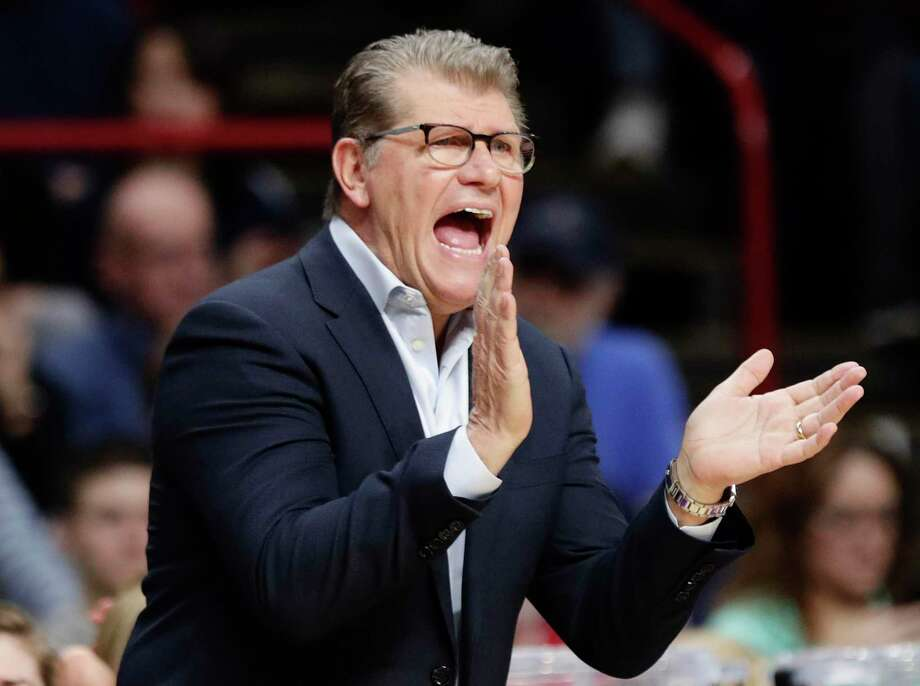 Connecticut head coach Geno Auriemma calls out to his team during the first half in a regional semifinal against Duke at the NCAA women's college basketball tournament Saturday, March 24, 2018, in Albany, N.Y. (AP Photo/Frank Franklin II) Photo: Frank Franklin II / AP / Copyright 2018 The Associated Press. All rights reserved.