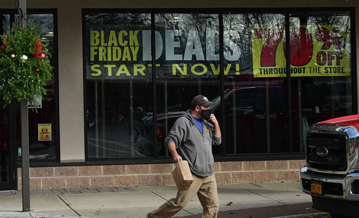 A Black Friday sale sign is seen in the Eastern Mountain Sports store at Stuyvesant Plaza on Friday, Nov. 20, 2020 in Albany, N.Y. (Lori Van Buren/Times Union)