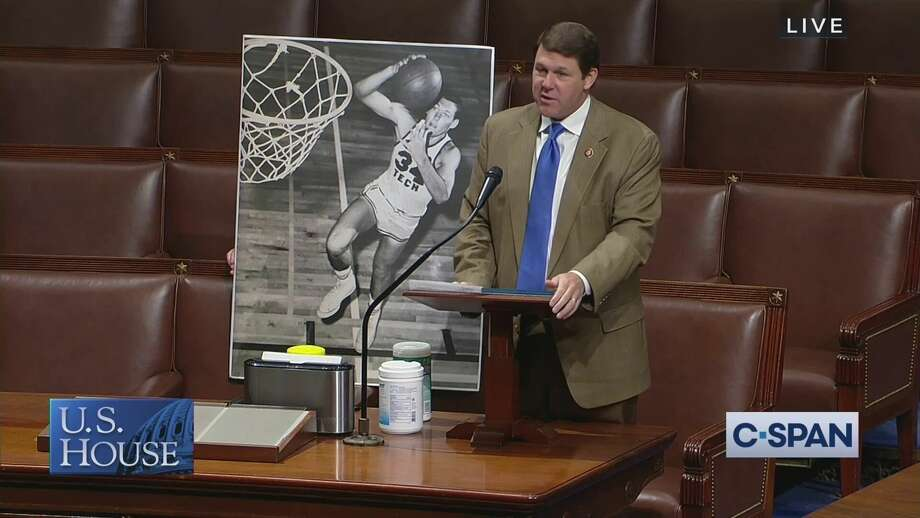 Congressman Jodey Arrington recognized his father Gene's induction into the Texas Panhandle Sports Hall of Fame on Thursday in Washington, D.C. Photo: Screenshot By Ellysa Harris