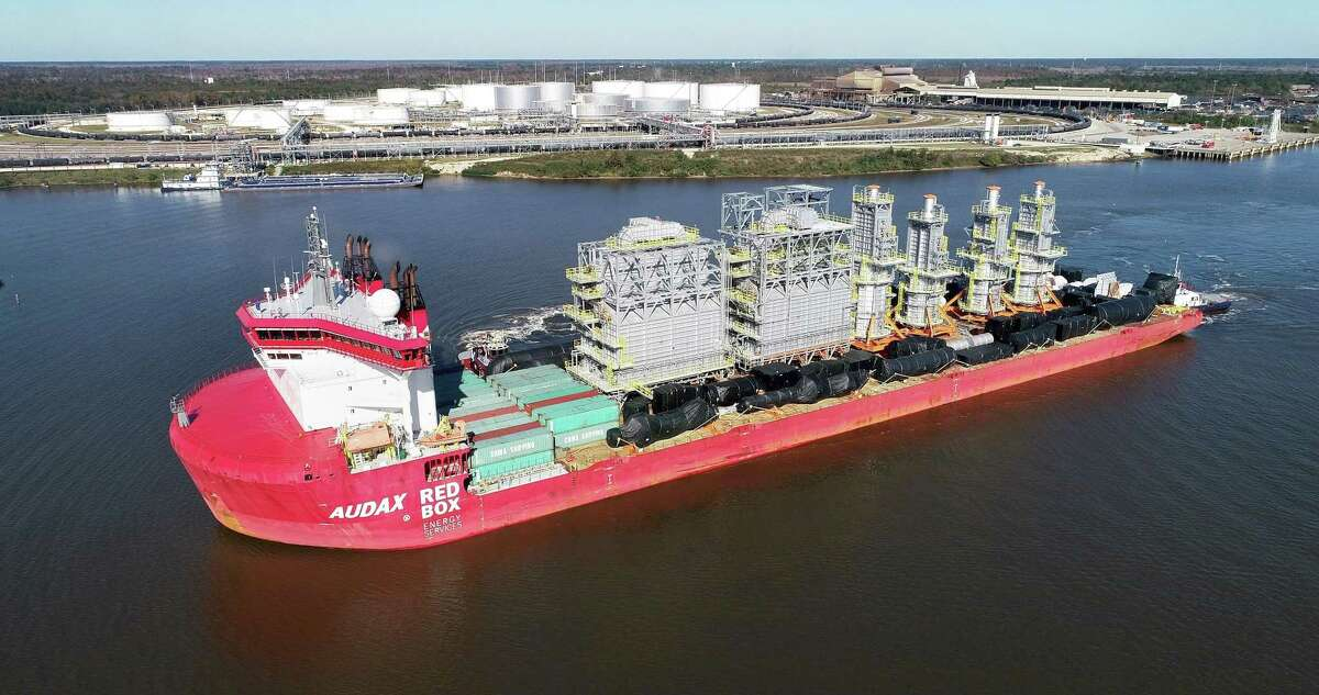 The Port of Beaumont has received the latest mammoth shipment of equipment for the ongoing expansion at Exxon Mobil's Beaumont refinery. Over the next week, six large furnaces and other components will be offloaded from the Red Box Energy Services AUDAX vessel that arrived Thursday. Photos taken 11/19/20.