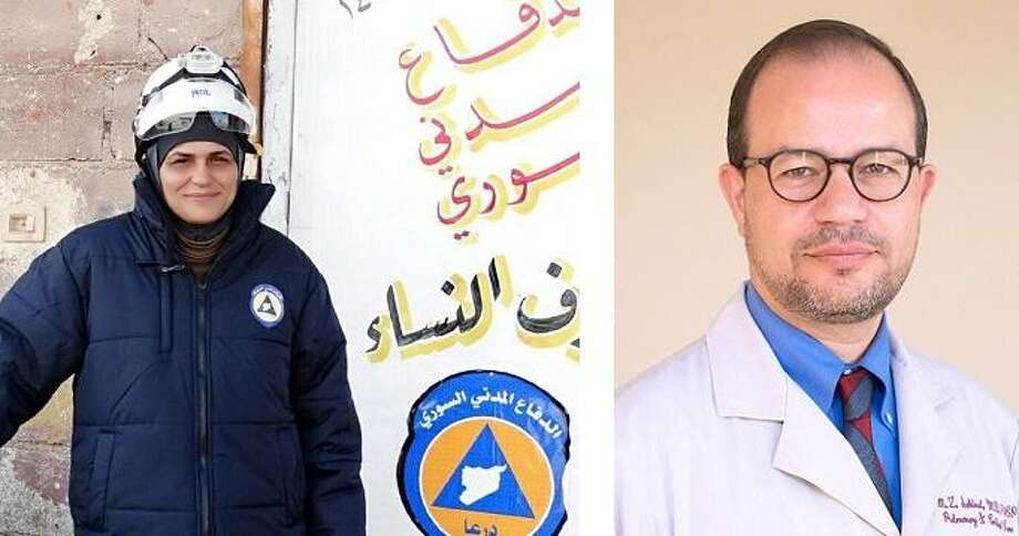 Syrian Mayson Almisri of the Syria Civil Defense (the White Helmets) and Dr. Zaher Sahloul of Chicago, a Syrian American, will receive the Gandhi Peace Award Saturday from the group Promoting Enduring Peace. Photo: Contributed Photos