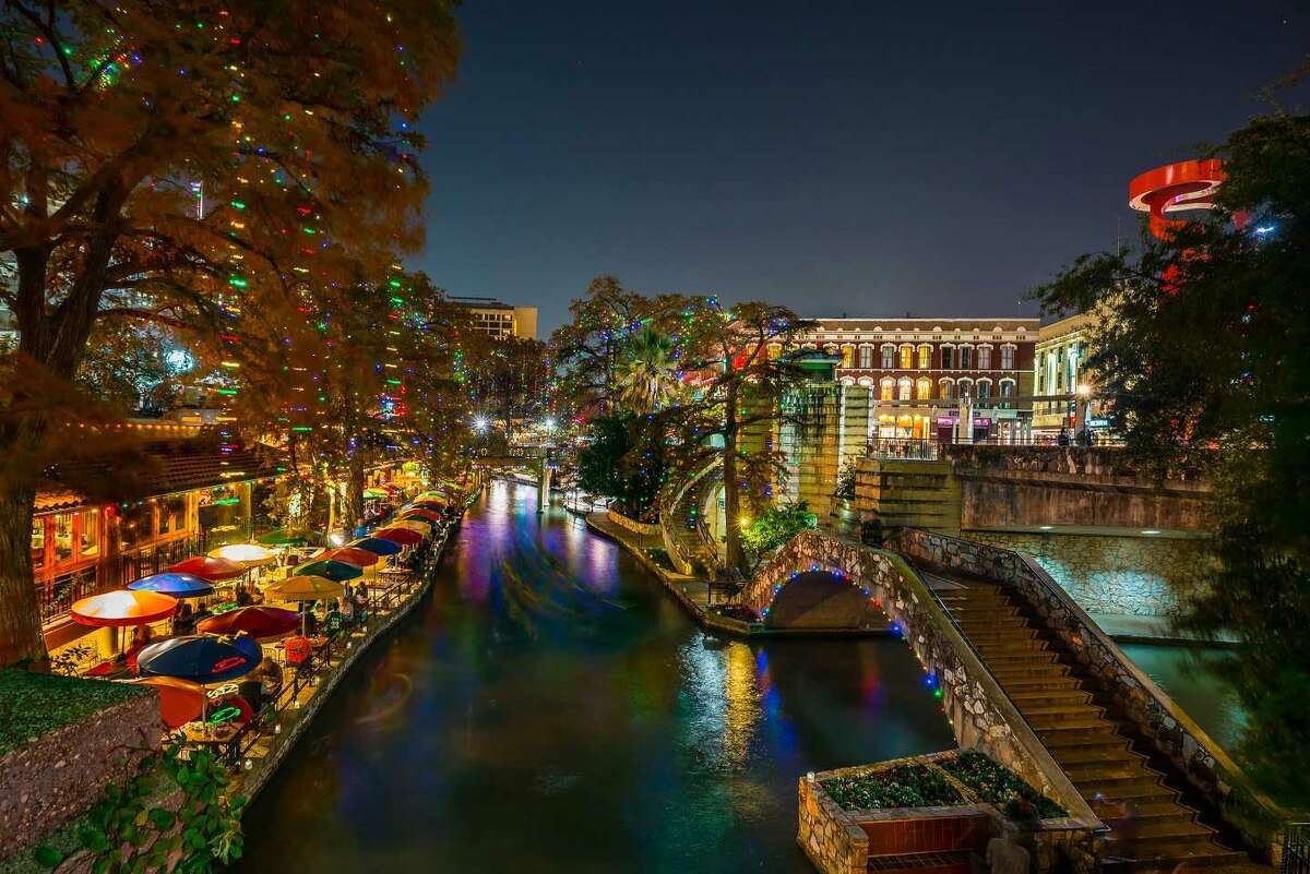 San Antonio River Walk (free): The city turned on the famous River Walk holiday lights on Nov. 12, and they will remain on from dusk to dawn nightly until Jan. 4.  There are over 100,000 lights draped over the towering bald cypress trees that line the River Walk in the downtown area near Commerce Street.