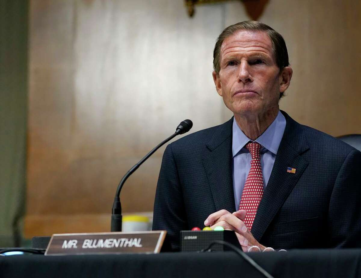 In this Nov. 10, 2020 file photo, Sen. Richard Blumenthal, D-Conn., speaks during a Senate Judiciary Committee hearing on Capitol Hill in Washington.