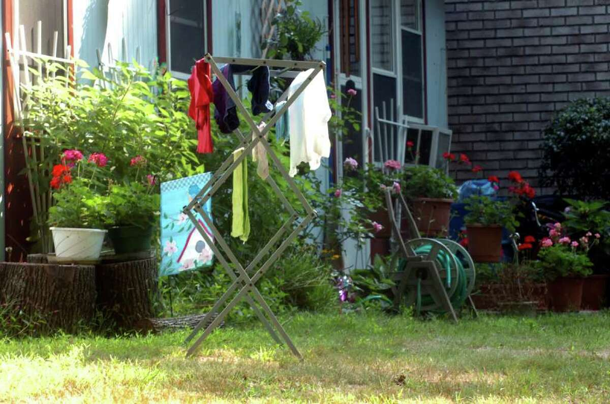 Clothes drying on a drying rack at Quarry Knoll, after the clotheslines were taken down, on Thursday, Sept. 2, 2010.