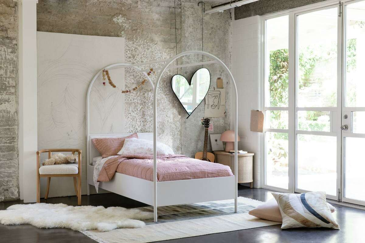 Leanne Ford's collection for Crate and Kids includes 60 pieces ranging from $16 to $1,199 for nursery, bedroom and playroom. Her Canyon Canopy twin bed comes in white or blue, $1,299.