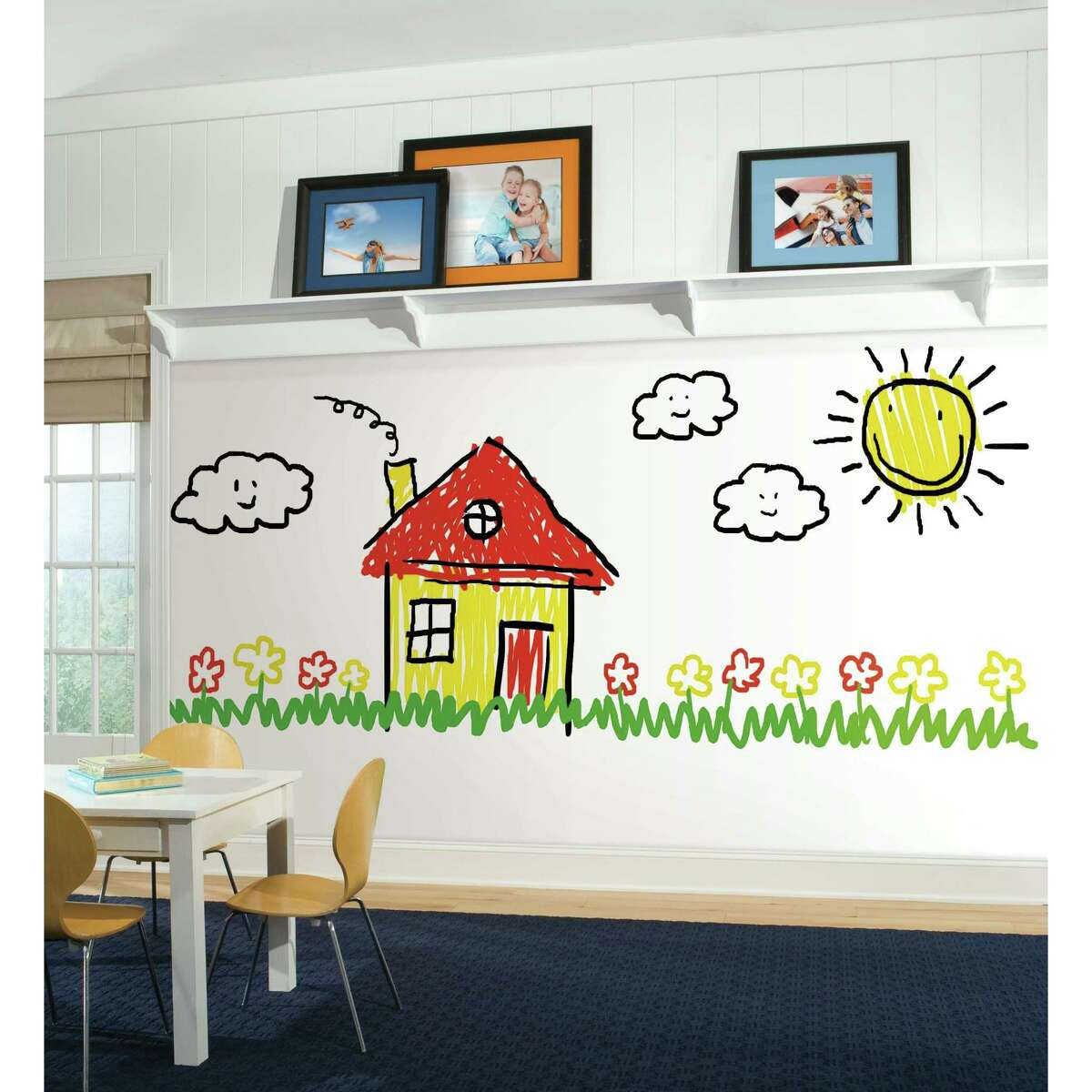 York Wallcoverings has created Dry-Erase Peel and Stick wallpaper. $34.99 per roll (28 square feet)
