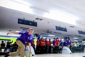 Prep bowlers in action at Airport Plaza Bowl in Bethalto. IHSA bowling, along with other winter sports, is in a 'temporary pause' because of COVID-19.
