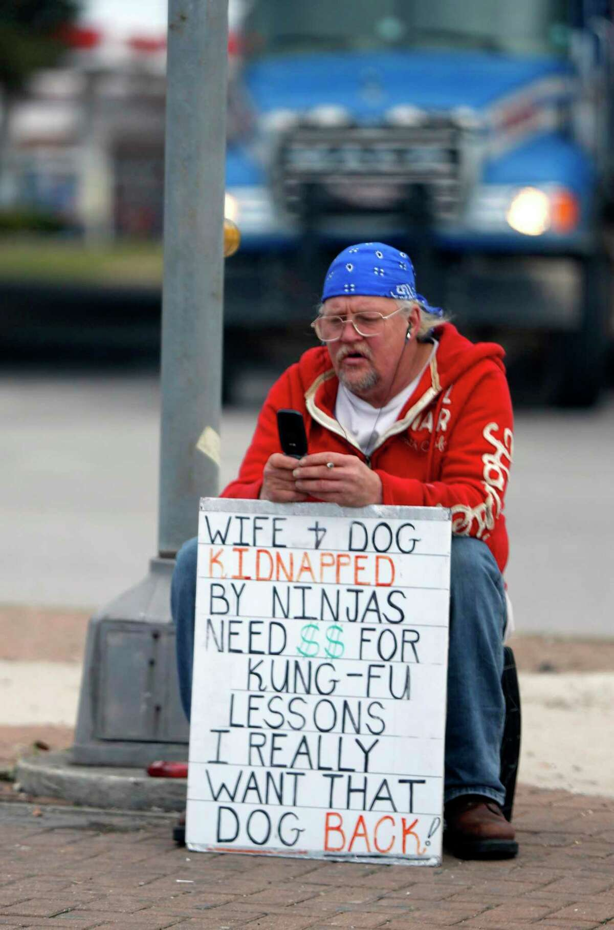 Drivers avoid eye-contact while panhandlers desire it. Both givers and takers engage in a ritualistic exchange of social capital.