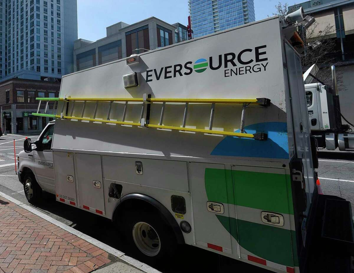 A file photo of an Eversource Energy truck in Connecticut.
