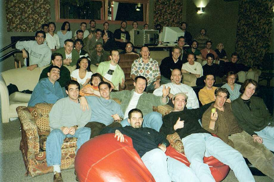 The projection room at Pixar in Point Richmond was filled with couches, beanbag chairs and other unmatched seating. Photo: Pixar Animation Studios