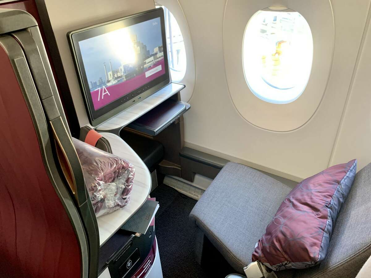 A business class window Qsuite seat on a Qatar Airways Airbus A350 like the one that will fly between San Francisco and Doha.