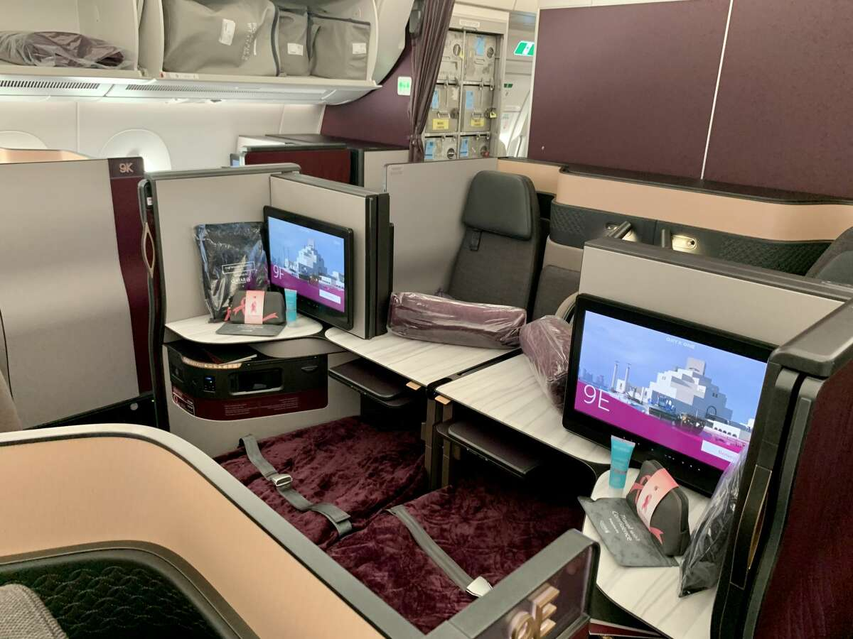 Center business class seats on a Qatar Airways Airbus A350 like the one that will fly between San Francisco and Doha.