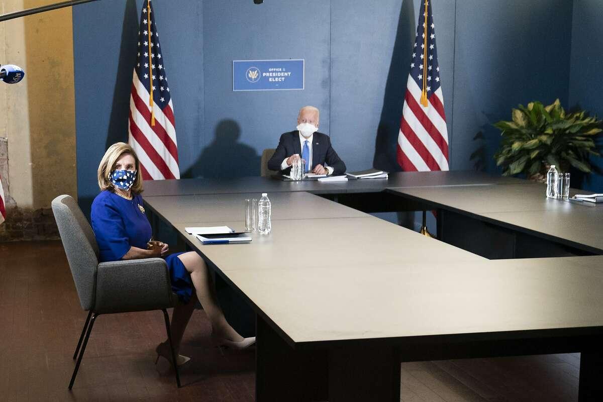 President-elect Joe Biden speaks at a meeting with House Speaker Nancy Pelosi, D-San Francisco.