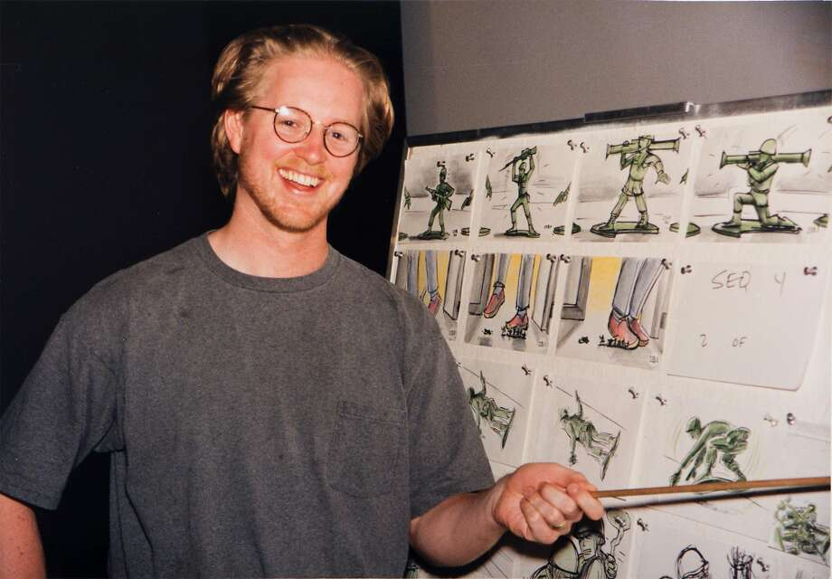 """Above: """"Toy Story"""" screenwriter Andrew Stanton works near storyboards for the film. Left: An ill-fated storyboard reel featuring these images of Woody the cowboy upset Disney executives. That """"Black Friday"""" event sent the """"Toy Story"""" story team back for a crucial rewrite of the character. Photo: Pixar Animation Studios"""