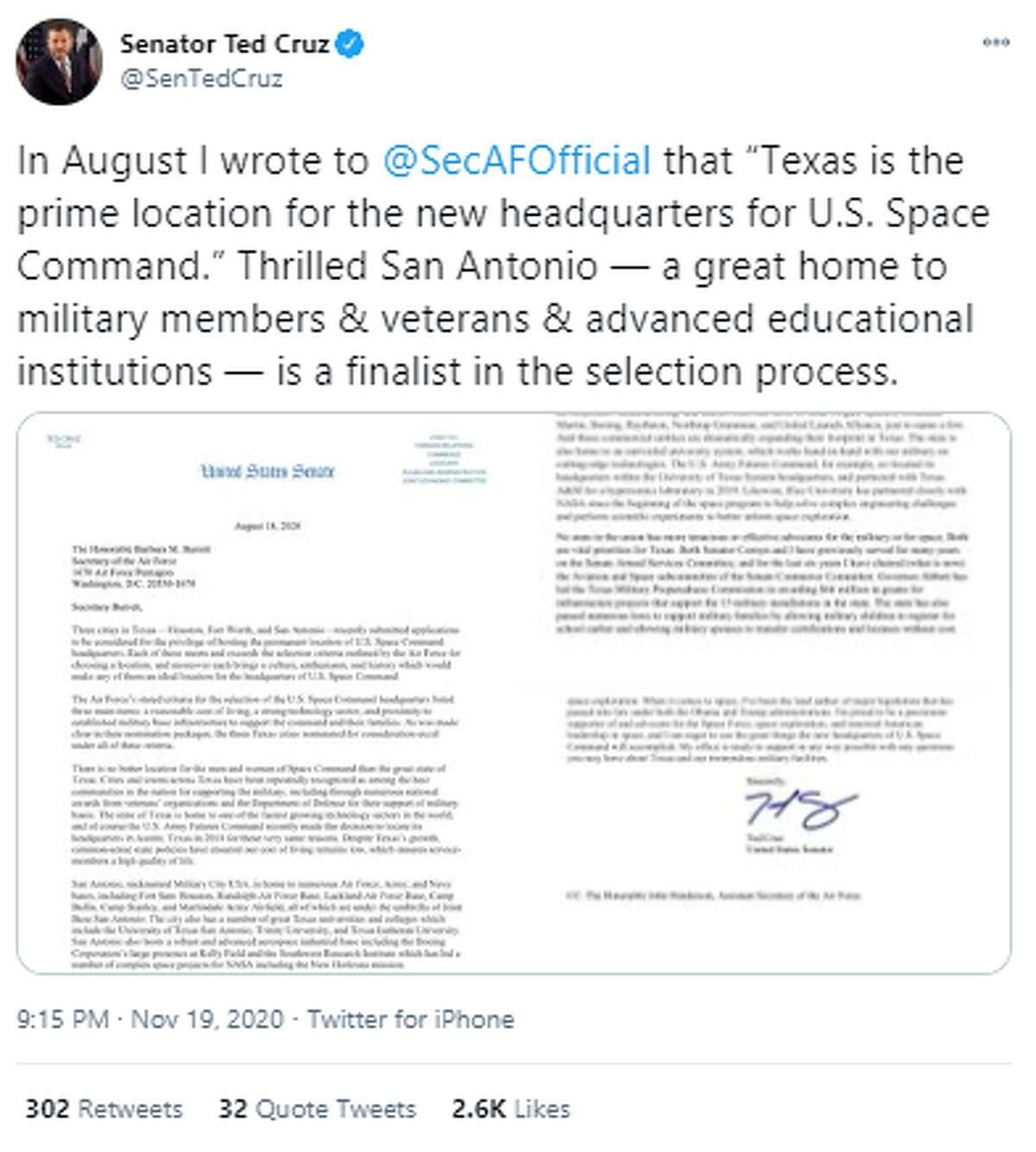 @SenTedCruz: In August I wrote to @SecAFOfficial that